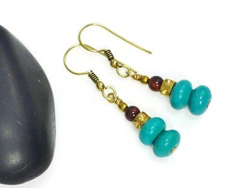Turquoise Earrings,  Blue Turquoise Earrings, Stone Earrings, Dangle Earrings, Blue Turquoise, Beaded Earrings