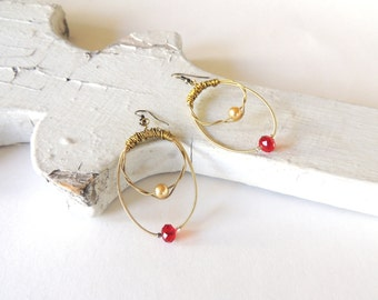 GUITAR STRING EARRINGS - gold earrings with crystals - July birthstone - gold and red - recycled/eco-friendly jewelry - under 25.00
