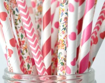 Paper Straws . Floral Pink and Red Hearts Chevron . valentines day / bridal shower decoration / mason jar buffet table / wedding party decor
