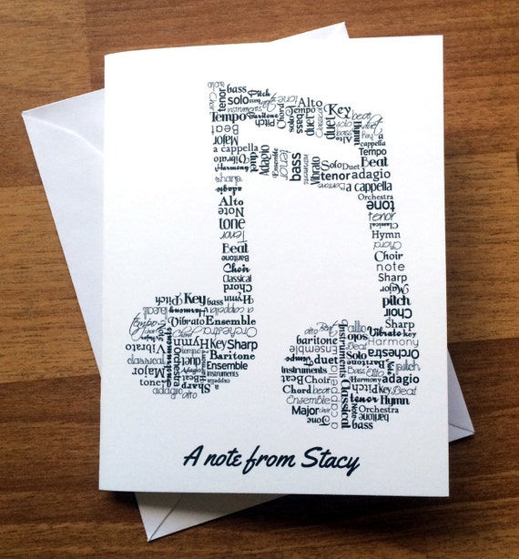 Music Note Cards Personalized Stationery Music Notes