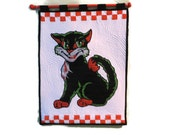 Quilted Vintage Style Cat Wall Hanging