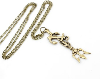 Poseidon's TRIDENT Anchor Pendant Necklace - Neptune - Pirate Fantasy - Once Upon a Time - GlazedBlackCherry