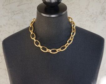 Vintage Italian Sterling Silver with Gold Plating Large Link Necklace