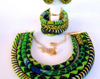 Ethnic jewelry set/ Tribal  jewelry set/ fabric necklace/African jewelry set