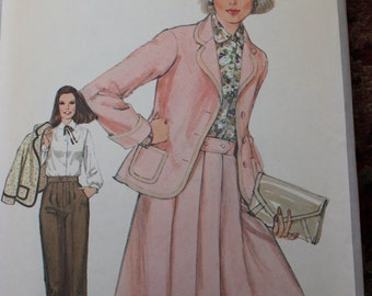 Vintage Simplicity Pattern 8424 Jacket, Pants, Skirt, and Blouse Size 14 Dated 1977 Uncut