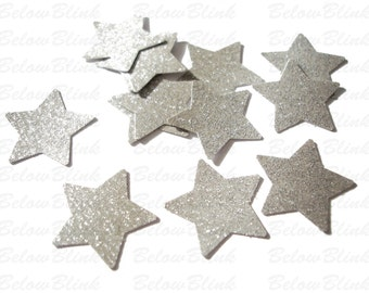 50 Twinkle Twinkle Little Star Glitter Silver Star Confetti, Party Decorations - No579
