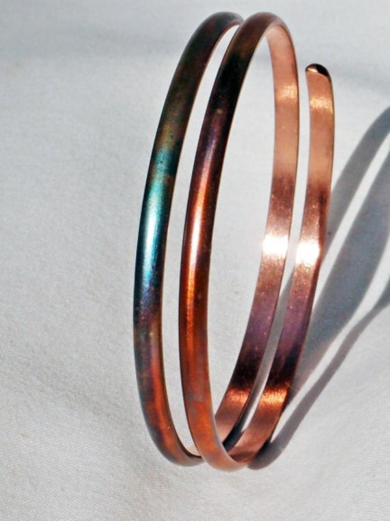 Hand forged copper spiral bracelet diameter with