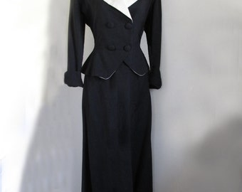 1940s-50s Black and White cotton/ linen suit, with peblum jacket / S