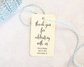 Large Thank You For Celebrating With Us Tag, Wedding Favors, Party Favors, Personalized Tags for Gift Bags, - Set of 25 (LGHT- CAN)