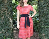 30% OFF WITH CODE - 1970's Striped Woven Sun Dress -- Small - Medium
