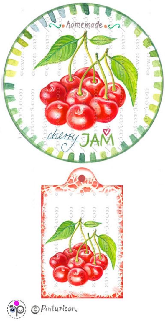 Circle jam label cherry jam label printable mason jar sticker homemade ...