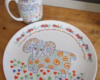 "Vintage Seymour Mann Ram Ceramic Mug and Plate Set 1976 ""Safari"" Line Japan NOS Luncheon Plate"