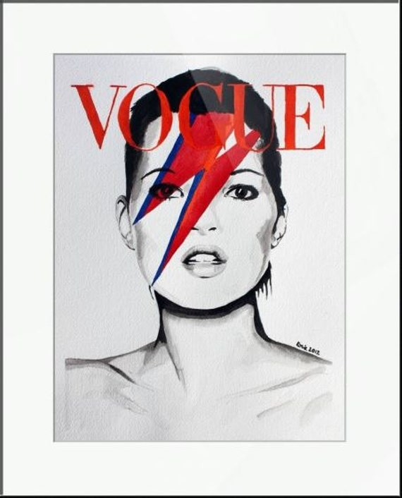Vogue. Kate Moss. Print and White Mat. Frame Ready. 8x10 or 11x14