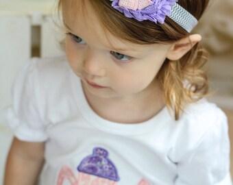Flower Headband - Shabby Flower Headband, Rosette Headband, Adult Headband, Baby Headband, Pink and Purple, M2M Headband, Wedding Headband