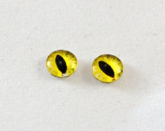 8mm Bright Yellow Dragon Glass Eye Cabochons - Evil Eyes for Doll or Jewelry Making - Set of 2