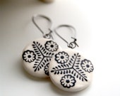 porcelain earrings - victorian inspired design - black and white - flower motif