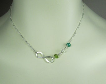 Mothers Birthstone Necklace Family Birthstone Infinity Necklace Mothers Necklace Grandmothers Personalized Jewelry Gift for Mom Necklace