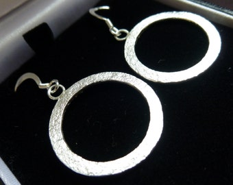 Made to order Sterling Silver hammered textured hand made circle/ hoop/ round/ dangly hook earrings