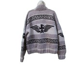 60's Eagle Cowichan Sweater Jacket - Vintage Eagle Hand Knit Wool Sweater Jacket with Front Pockets