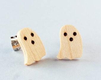 Halloween Ghost Earrings, small wood earrings, wood post earrings, lightweigh earrings, jewelry earrings, wooden jewelry, jewelry women