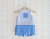Baby Boy Romper suit, Blue and White Checkered dungarees for baby boy, Little boys outfit, All in One for baby boy