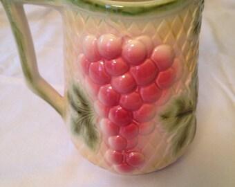 Ceramic pitcher grapes palm tree france majolica