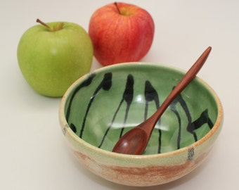 Wheel Thrown Stoneware Dip or Condiment Serving Bowl with Wood Spoon