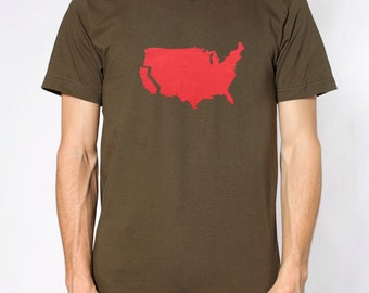 Men's California t shirt- American Apparel -army green- available in S, M, L, XL, XXL- Worldwide Shipping