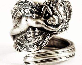 Goddess Ring, Nude Woman, Sterling Silver Spoon Ring, Figurative Ring, Sterling Art Nouveau Ring, Handmade Gift, Adjustable Ring Size (539)