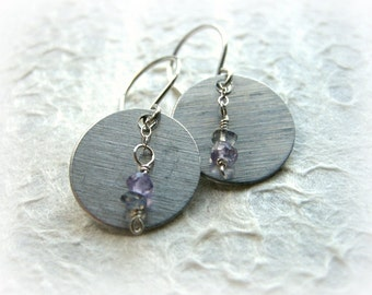 Small Lunar Drop Earrings - Aluminum Disk, Labradorite, Amethyst, Sterling / Dainty Unique Mixed Metals Jewelry, Abstract Design