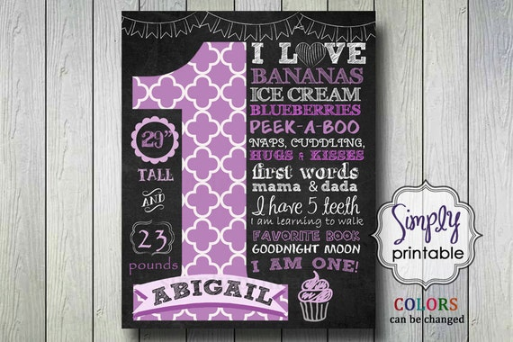 Purple 1st Birthday Poster, Printable Digital File, Chalkboard