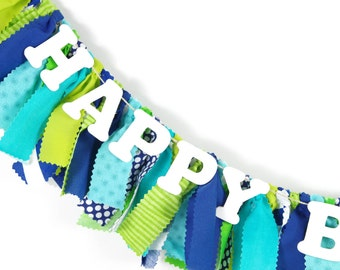Lime Green, Navy and Aqua Birthday Decor - First Birthday Decor - Name Banner - Birthday Banner - Garland - Photoshoot Prop