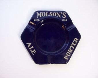 Vintage Enamel Ashtray Advertising Barware Molson's Porter Ale Beer Excellent Condition