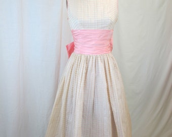 1950s White Sheer Pink Party Dress