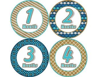 Baby Month Milestone FREE Month Baby Sticker Baby Month Milestone Stickers Baby Boy Bodysuit Stickers Baby Gift Brown Blue Patterns 041B