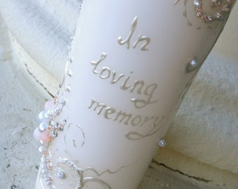 "In Loving Memory Wedding memorial candle in white and blush pink with crystals, custom personalized memory candle, wedding reception 9""x3"""