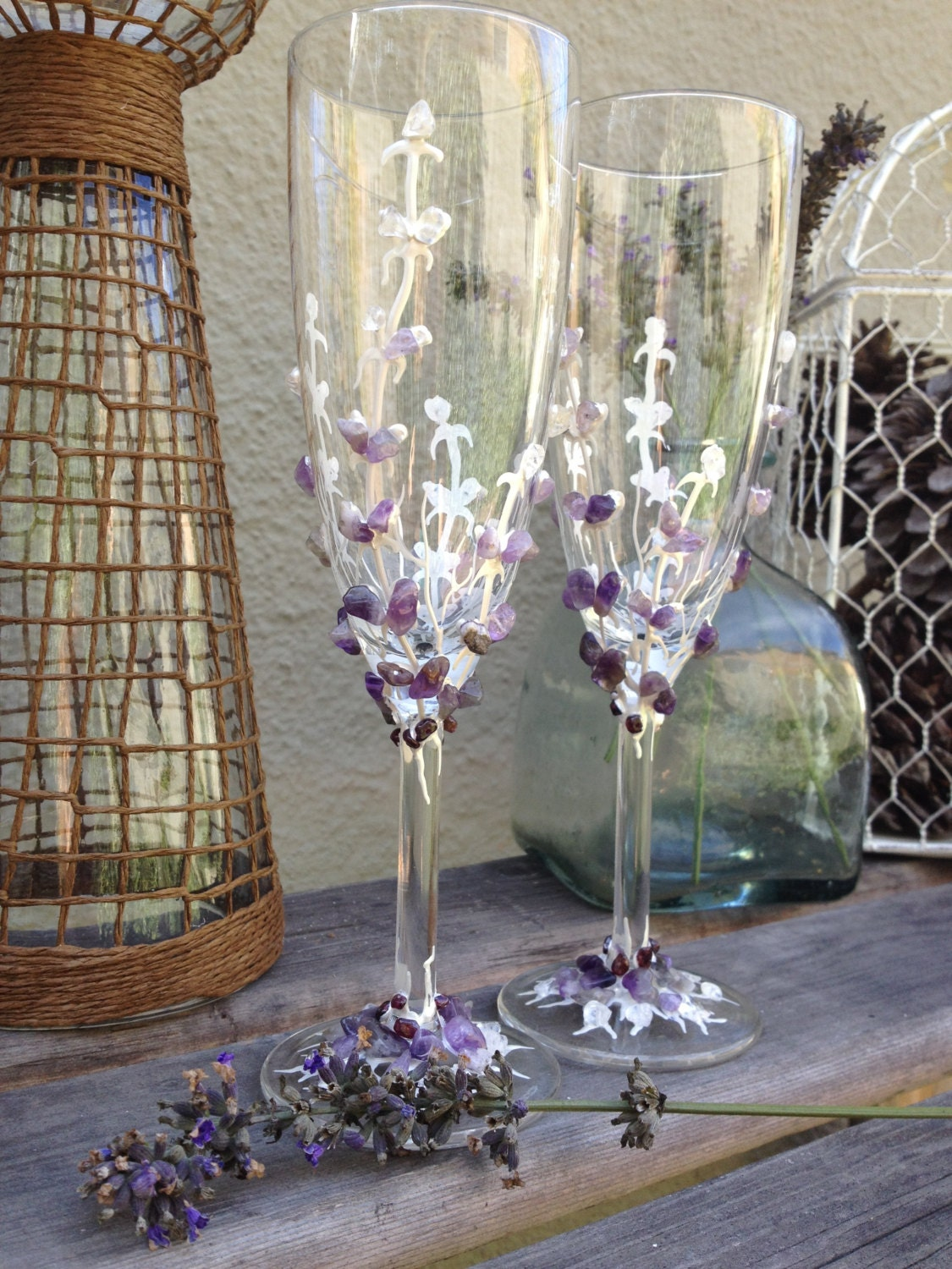 Lavender Champagne Flutes Wedding Glasses Decorated With