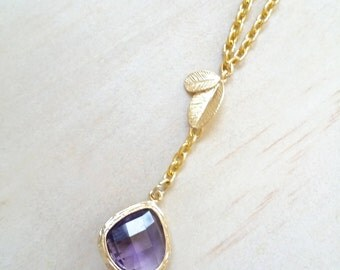 Amethyst necklace Gold Leaf necklace Purple Bridesmaid Necklace Maid of Honor Gift birthstone necklace Thank you card Lariat necklace Y