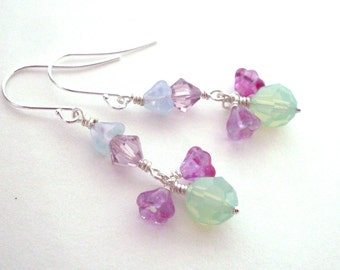 Pastel earrings, Austrian crystal, glass flower bead dangles, mint and fuchsia, pale blue and mauve, Spring earrings, crystal bead jewelry