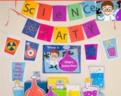 Science Party Decorations & Props Printable Kit - INSTANT DOWNLOAD - Boy Brown Hair