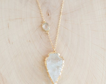 Layering Necklace - Arrowhead Necklace - Clear Quartz Crystal Arrowhead Necklace - Bohemian Necklace - Boho Hippie Chic Necklace
