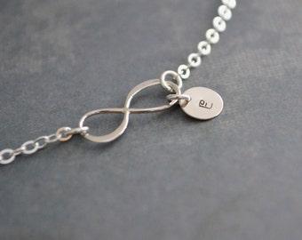 Personalized Infinity Bracelet, Sterling Silver, Monogram, Gift Under 25