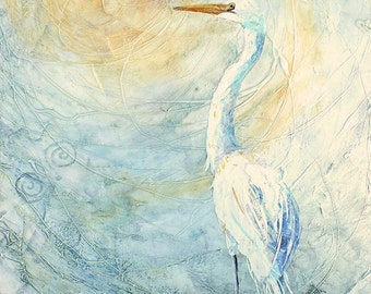 "NEW DAY Original Mixed Media Collage Egret Painting 24 X 18"" on Gallery wrapped canvas"