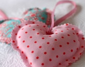 Shabby Chic Polka Dot Hanging Heart Ornament Fabric Hearts Red Pink Valentine europeanstreetteam