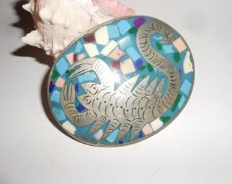 Turquoise Scorpion Belt Buckle 50s Native American Vintage Rockabilly Kitsch Buckle -Vintage