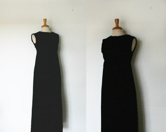 1960s black empire waist column maxi dress, size medium