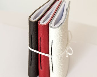 Set of 3 Pocket notebook favor, leather journal notebook, travel small tiny cahier blank pages, hand sewn bound address book graduation gift