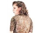 1930s sequin bolero / Sequin evening jacket / Vintage Gold gelatin sequin top AS IS