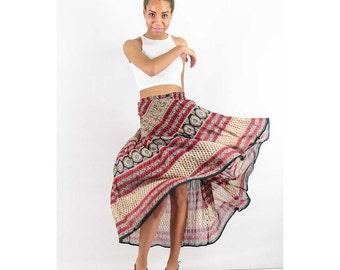 Vintage Indian cotton skirt / Hippie skirt / Sheer maxi skirt with drawstring waist S M L