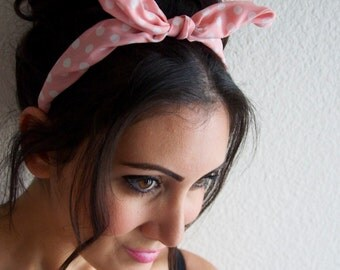 Bunny Bow Ears Headband -  Pink and white Polka Dot Bow Ears Headband